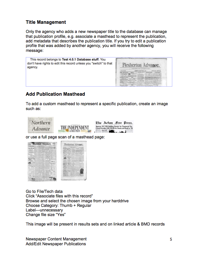 Newspaper management manual screenshot