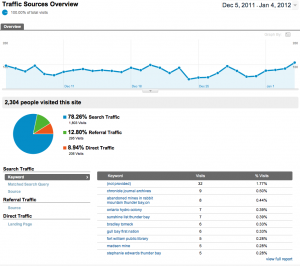 Google analytics dashboard screenshot