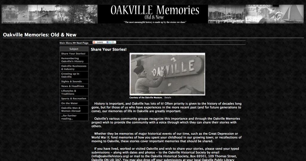 Oakville Memories screenshot