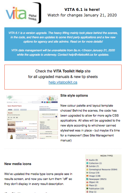 A screengrab of our newsletter announcing VITA601